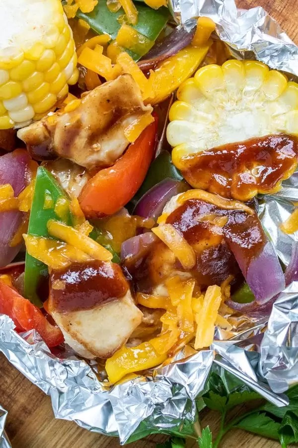 BBQ Chicken Foil Packets with chicken and peppers