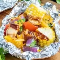 easy cheddar BBQ Chicken Foil Packets