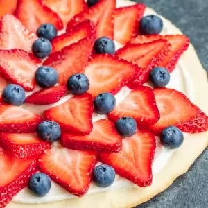 Red, White & Blue Fruit Pizza July 4th dessert