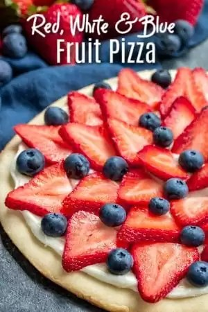 This Red White and Blue Fruit Pizza is an easy fruit pizza recipe for 4th of July parties! Fresh fruit, sweet cream cheese frosting, and a sugar cookie crust make this the perfect summer dessert. Make this dessert pizza with fresh fruit for Memorial Day, Labor Day, or 4th of July dessert. A soft, homemade sugar cookie topped with frosting, strawberries and blueberries, makes a beautiful and delicious dessert. #4thofjuly #fruit #cookie #homemadeinterest