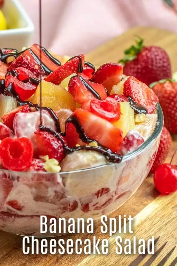 Banana Split Cheesecake Salad is an easy dessert salad recipe made with everything you love about a banana split. Sweet cherries, bananas, and nuts, is mixed with a cream cheese dressing and tossed together for the BEST summer dessert salad. The perfect dessert recipe for parties and potlucks! #banana #dessert #bananasplit #cheesecake #creamcheese #homemadeinterest