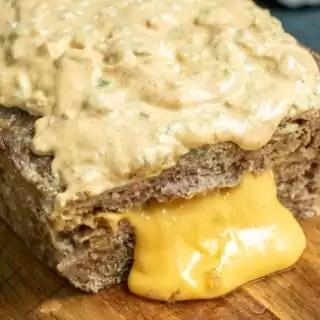 Big Mac Keto Meatloaf oozing cheese