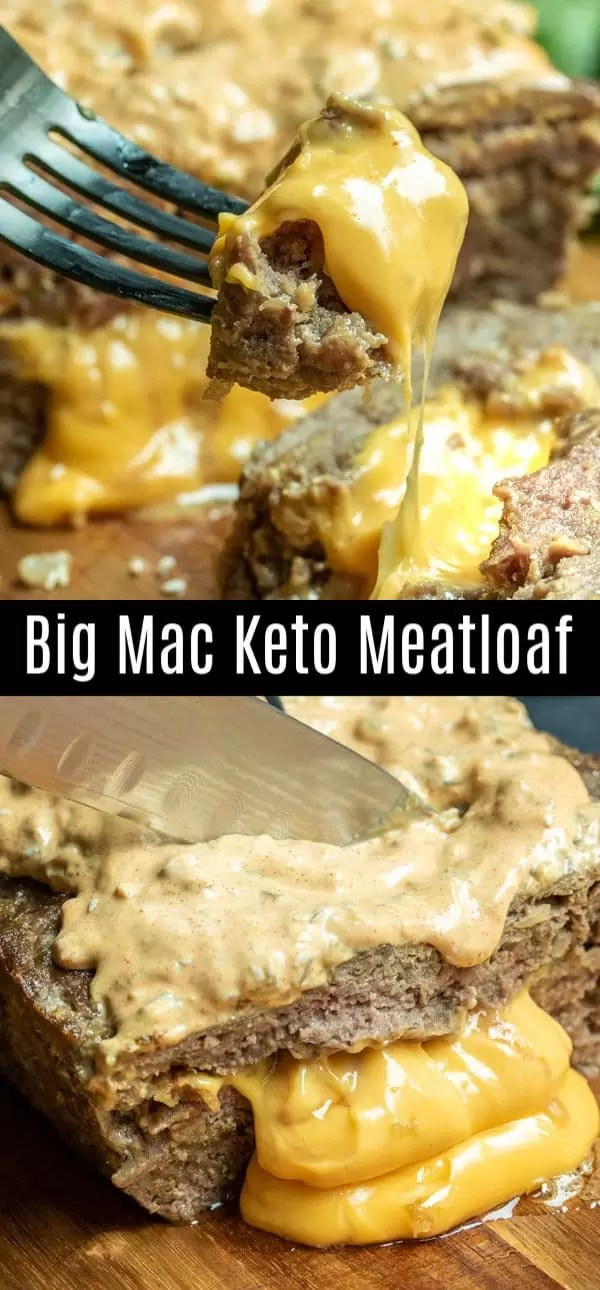 This delicious Big Mac Keto Meatloaf is made with pork rinds and ground beef, stuffed with cheese, and topped with Big Mac sauce for the best low carb meatloaf recipe EVER. This keto meatloaf is easy to make and deliciously cheesy. It's a great keto dinner recipe for the keto diet. #keto #lowcarb #ketodiet #lowcarbrecipes #meatloaf #cheese #bigmac #homemadeinterest