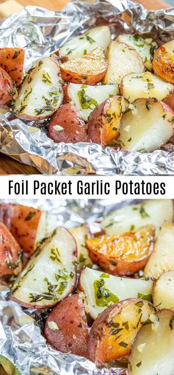 These easy Foil Packet Garlic Potatoes are cooked on the grill or in the oven with lots garlic and herbs for a perfectly tender roasted potatoes recipe packed with flavor. Make them as a side with your grilled steak or serve them along with roasted chicken for an easy grilled side dish. #homemadeinterest #potatoes #garlic #grilled #foilpacket