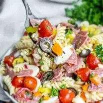 Italian Pasta Salad on a fork