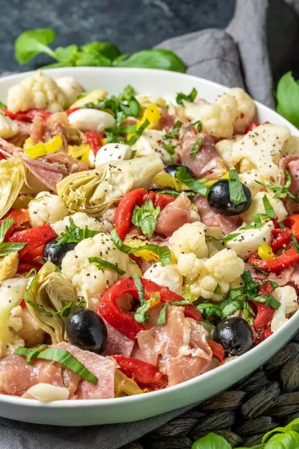 Keto Antipasto Salad made with roasted red peppers