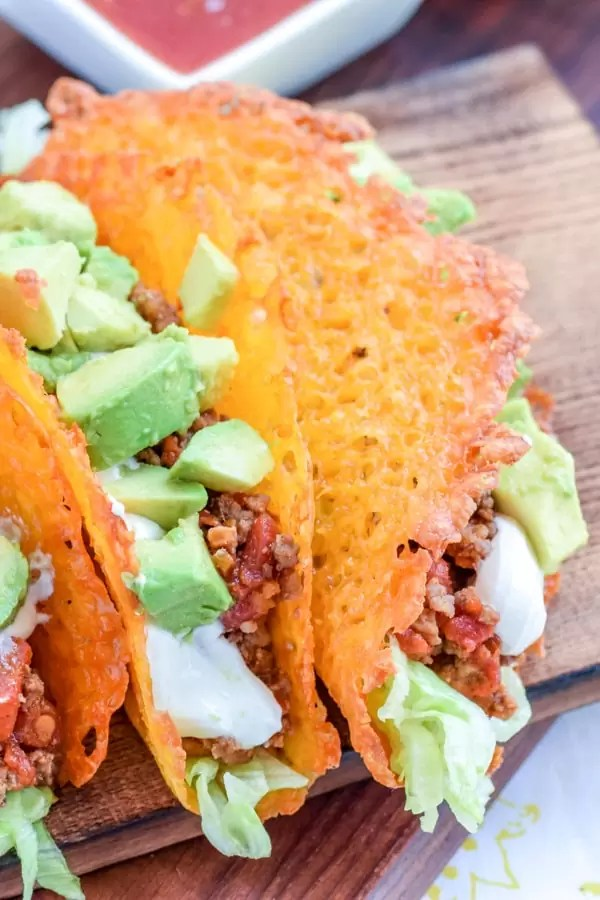 Keto tacos stacked together