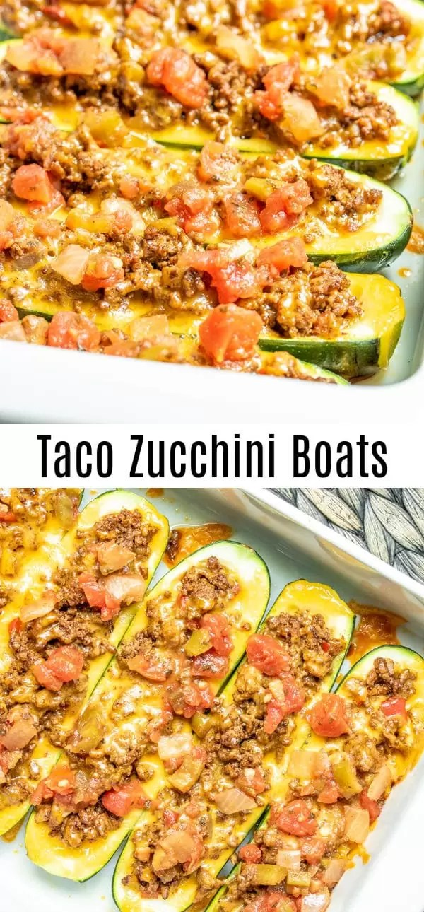 These easy Taco Zucchini Boats are a low carb recipe is fresh zucchini stuffed with seasoned ground beef, cheese, and salsa. It's a delicious healthy keto recipe that makes a great dinner for family. It makes a great gluten-free dinner too! #zucchini #lowcarbrecipes #ketorecipes #keto #lowcarbdiet #healthyrecipes #taco #homemadeinterest