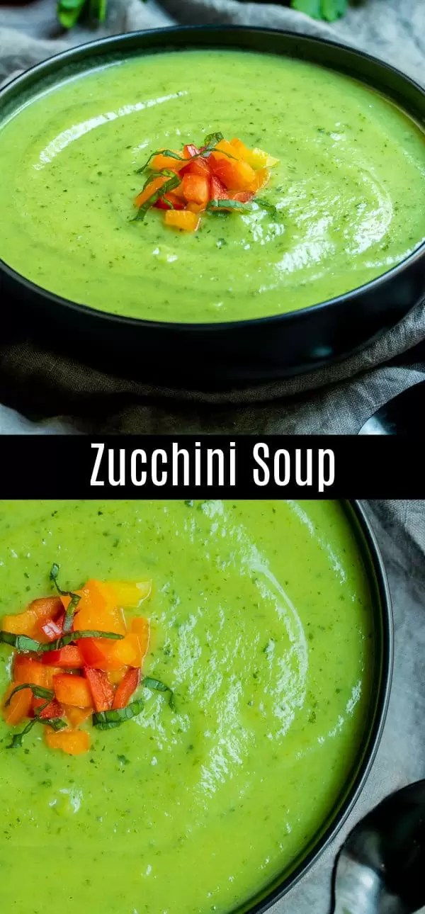 This healthy, creamy zucchini soup recipe is made with a few simple ingredients. It's an easy summer soup recipe that can be served hot or cold for a delicious dinner or lunch. It's also a low carb summer soup recipe for those watching their carbs! #zucchini #soup #healthy #lowcarb #keto #lowcarbdiet