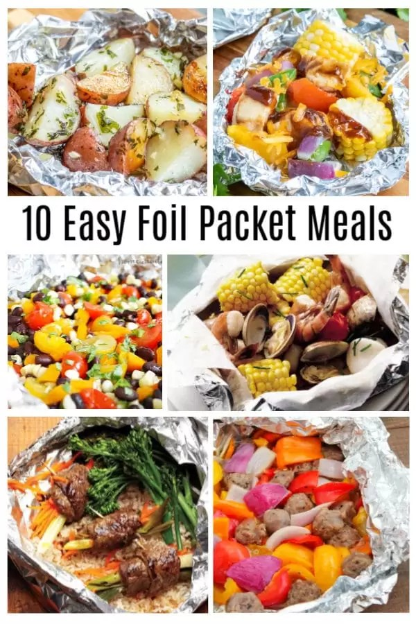 10 Easy Foil Packet Meals or hobo dinners made with shrimp, chicken, beef, and pork, that are perfect for family dinners on the grill or camping. #grill #foilpacket #familydinner #homemadeinterest