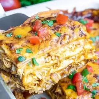 serving Chicken Enchilada Casserole