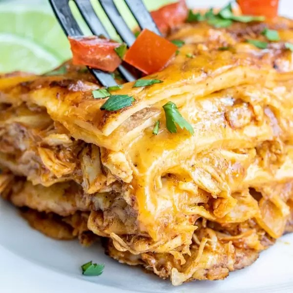 layers of Chicken Enchilada Casserole
