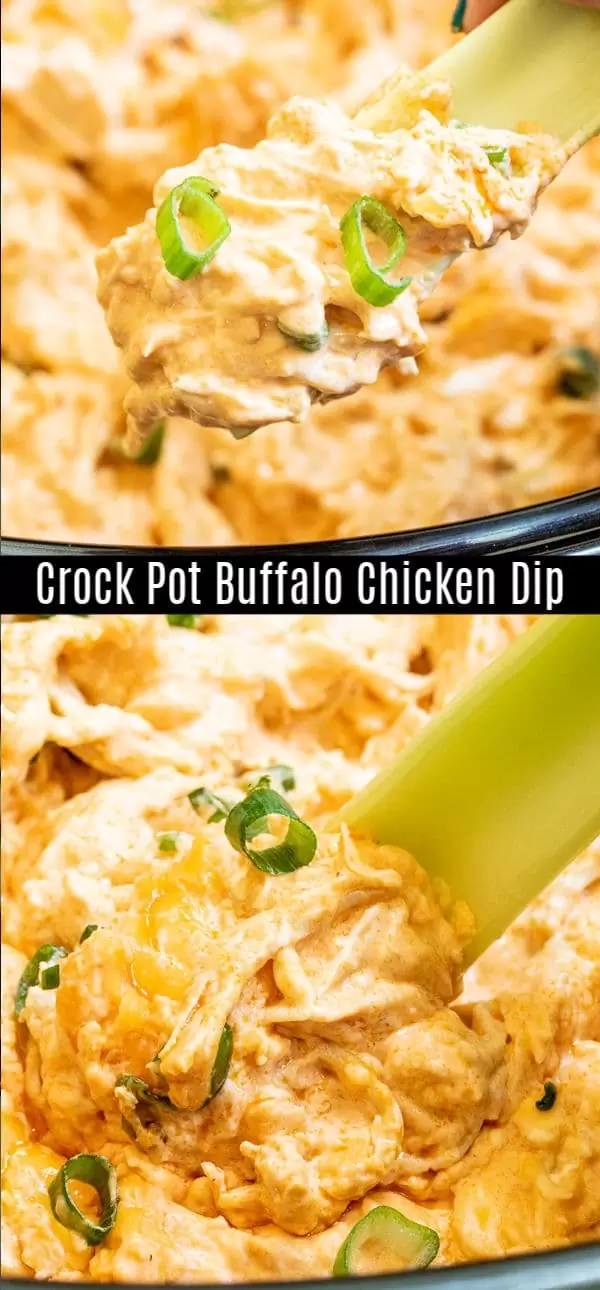 This Crock Pot Buffalo Chicken dip is an easy hot dip recipe made in a slow cooker. Cheese, chicken, Franks buffalo wing sauce, and ranch dressing come together to make a hot, bubbly dip that is perfect for feeding a crowd. Serve it with celery stick for a keto and low carb recipe on game day. #gameday #footballfood #slowcooker #crockpot #buffalosauce #chicken #dip #homemadeinterest