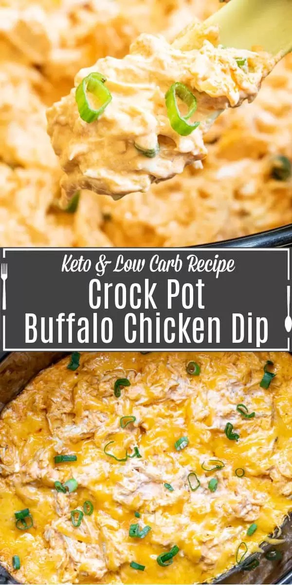 Pinterest image for Crock Pot Buffalo Chicken Dip with title text