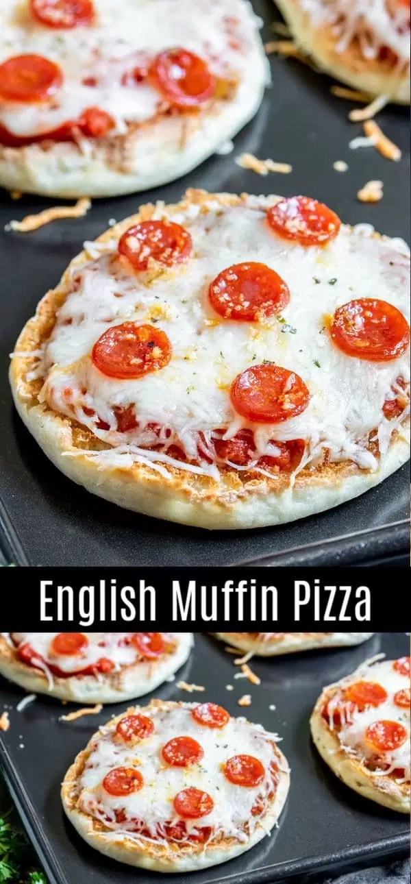 This easy English muffin pizza is a great after school snack recipe for kids. Bake these english muffin pizzas in the oven for lunches, take them with you for camping, top them with your favorite toppings like pepperoni. It's a great idea for a healthy snack or appetizers. #pizza #snacks #backtoschool #pepperoni #homemadeinterest