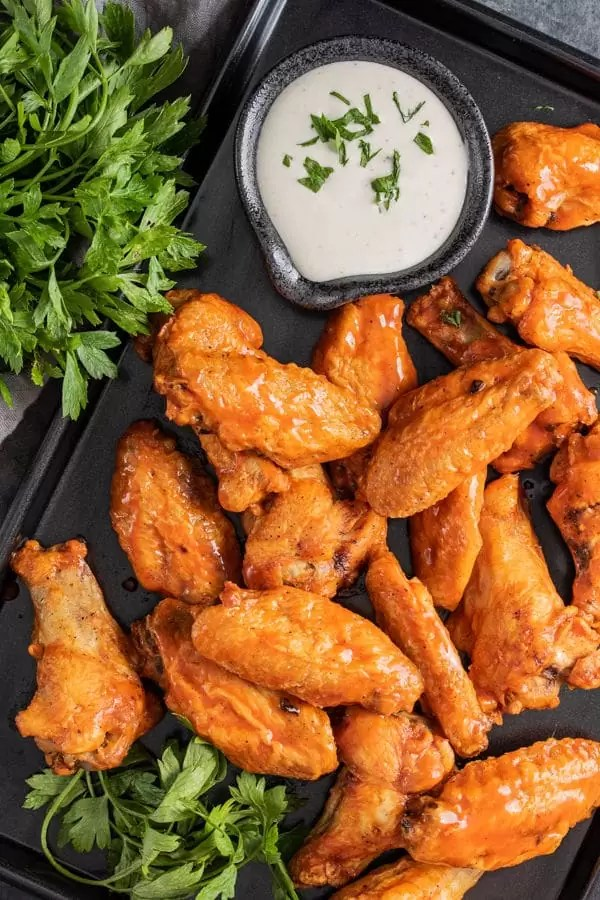 pan of buffalo Air Fryer Chicken Wings
