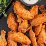 pan of buffalo Air Fryer Chicken Wings