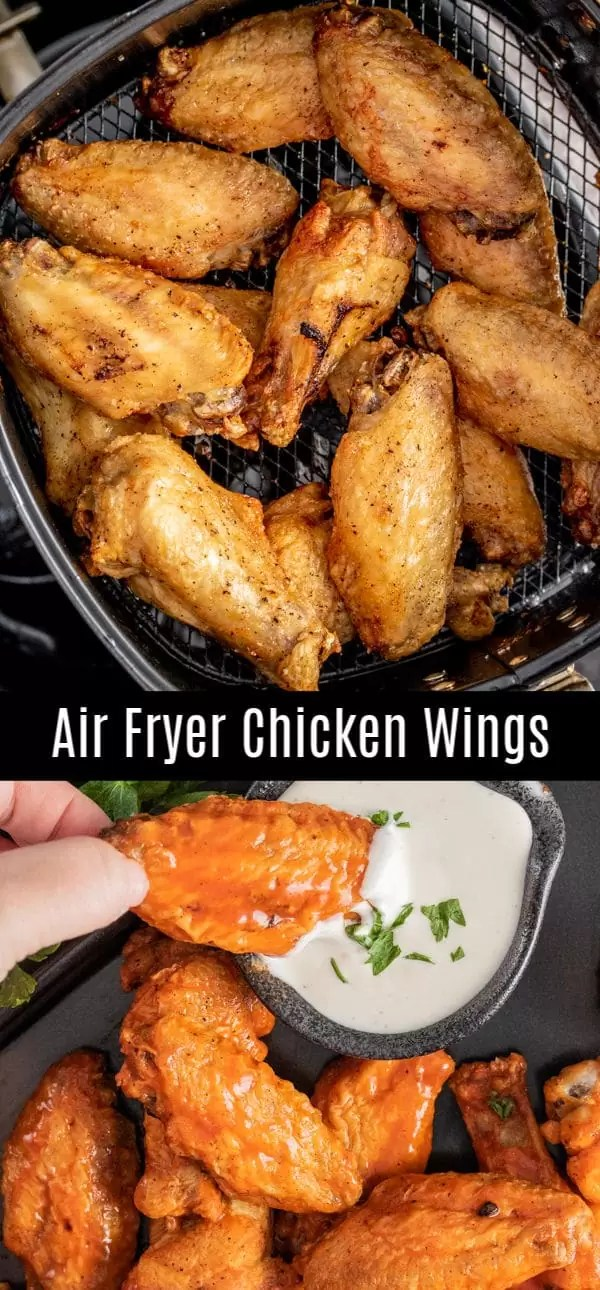 These crispy Air Fryer Chicken Wings are easy to make and can be served with your favorite sauce or dry rub. This simple air fryer chicken recipe is made with chicken wings and drumsticks cooked in the air fryer for 25 minutes for perfectly crispy wings. Toss in BBQ sauce, buffalo sauce, garlic sauce for the ultimate game day appetizer or fool proof football food ideas. #chickenwings #buffalochicken #airfryerrecipe #airfryer #gameday #homemadeinterest