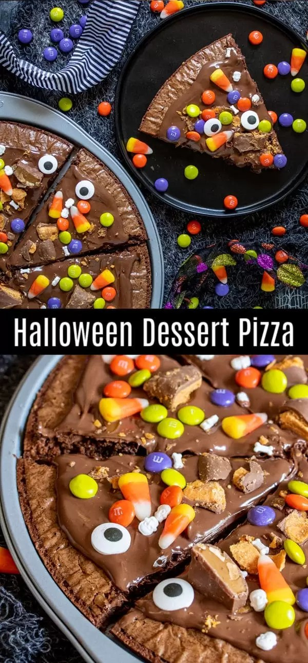 Halloween Dessert Pizza starts with a box of brownie mix and your favorite Halloween candy and bakes up into a delicious Halloween recipe for a party. This easy Halloween recipe idea uses brownie mix, Nutella, and Halloween candy to make a delicious Halloween dessert for kids and adults. It's perfect for parties and a great way to use up leftover Halloween candy. #halloween #halloweenparty #dessert #brownies #candy #homemadeinterest