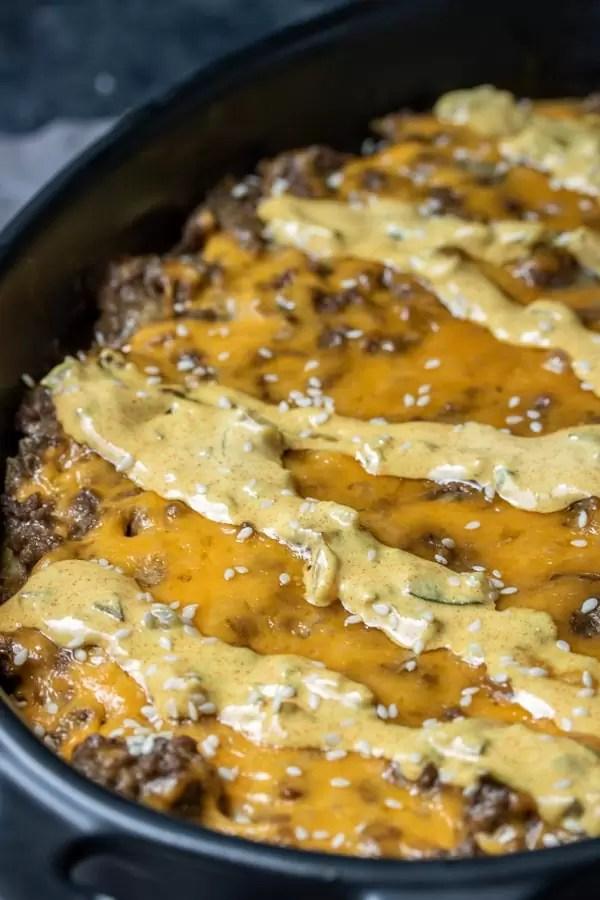 platter of Keto Big Mac Casserole