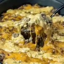 Keto Big Mac Casserole is a delicious cheesy meal.