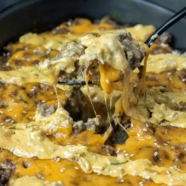 easy low carb and Keto Big Mac Casserole