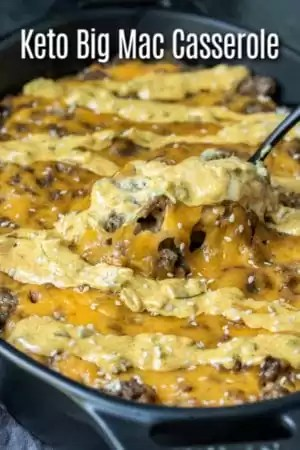 This Keto Big Mac Casserole is an easy low carb dinner recipe made with ground beef, cheese, and delicious big mac sauce! It's similar to a cheeseburger casserole or hamburger casserole with the addition of a creamy special sauce that takes this low carb dinner to the next level! #lowcarbrecipe #ketorecipe #keto #lowcarb #hamburger #groundbeef #cheese #casserole #homemadeinterest