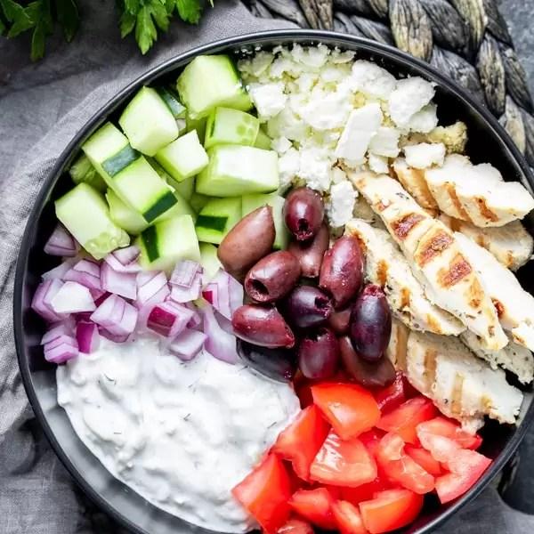 Keto Chicken Gyro Bowl with homemade keto tzatziki
