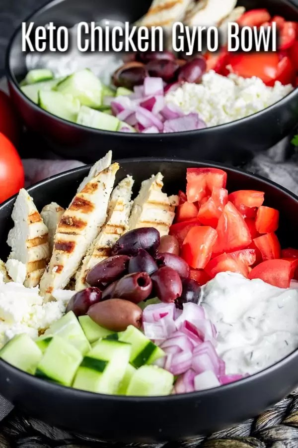 This healthy Keto Chicken Gyro Bowl is a low carb recipe that makes a great lunch or dinner idea. A Greek marinade gives the grilled chicken it's flavor and it is tossed with olives, feta, tomato, and cucumbers. It's served with tzatziki sauce as the dressing. Toss together and you have a delicious keto salad! #gyro #chicken #ketorecipes #lowcarbdiet #lowcarb #keto #bowl #homemadeinterest