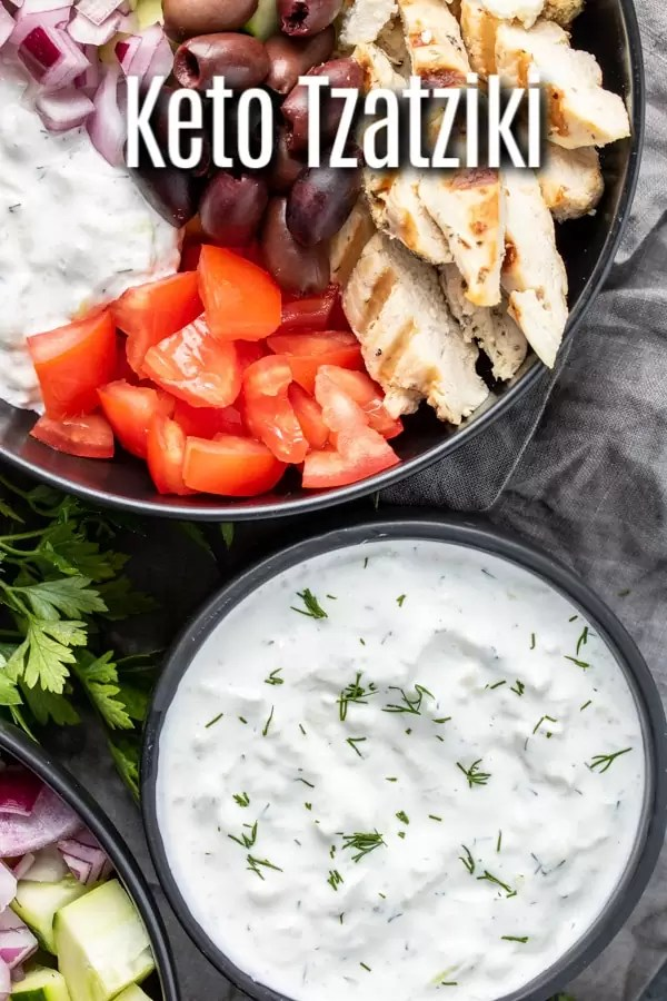 This easy recipe for Tzatziki Sauce is a keto version made with sour cream instead of Greek yogurt. This homemade keto tzatziki sauce is made with cucumbers and dill and is perfect for pairing with veggies or chicken gyros. #greek #keto #lowcarb #ketorecipes #lowcarbrecipes #sauce #dip #homemadeinterest