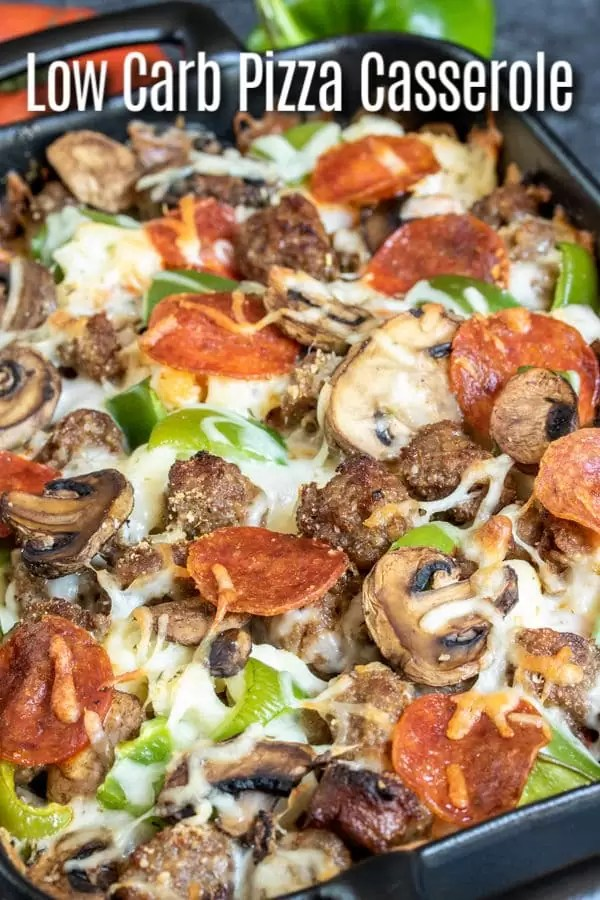Low Carb Pizza Casserole is an easy keto dinner recipe made with all of your favorite pizza toppings, pepperoni, green peppers, sausage, mushrooms, and lots of mozzarella cheese. It's a low carb pizza casserole with no pasta! An easy low carb recipe for family dinners. #lowcarbdiet #ketodiet #keto #lowcarb #ketorecipes #pizza #casserole #homemadeinterest