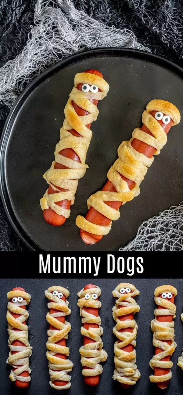 A simple recipe for how to make Mummy Dogs! This easy Halloween recipe is perfect for dinner on Halloween night or a fun Halloween party food. All you need are crescent rolls and hot dogs to bake up this easy Halloween treat. Make mummy dogs for your kids this year and watch them disappear. #halloweenrecipe #halloween #halloweenparty #hotdog #kids #homemadeinterest