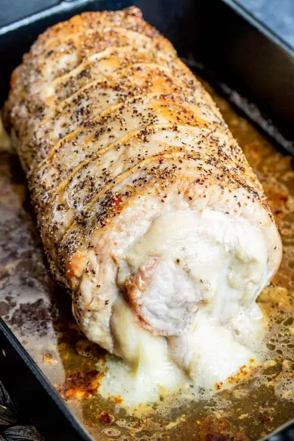 cheesy Stuffed Pork Loin with provolone