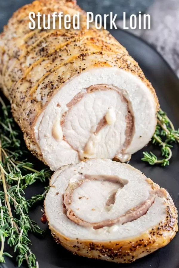 This easy pork loin recipe is a perfectly roasted, moist and tender, provolone and prosciutto stuffed pork loin. It is a delicious keto and low carb dinner recipe that is baked in the oven. Make this easy pork recipe for your family this week! #pork #porkloin #keto #lowcarb #ketorecipes #lowcarbrecipe #ketodiet #cheese #homemadeinterest