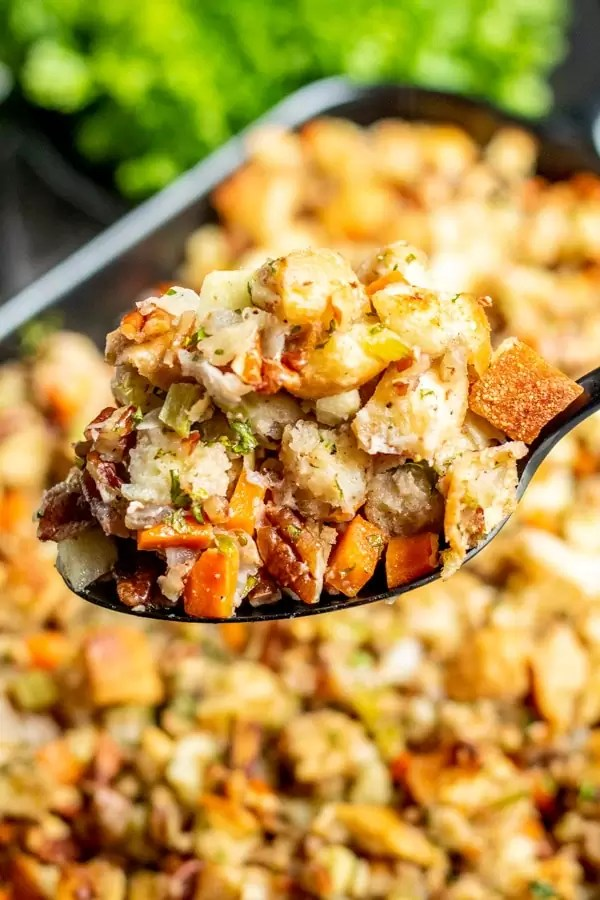 spoonful of easy to make Thanksgiving side Apple Pecan Stuffing