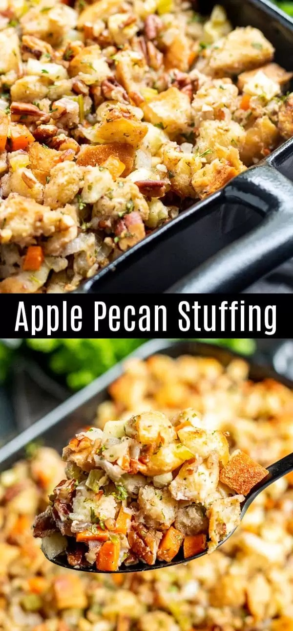 This Apple Pecan Stuffing recipe is an instant classic. Delicious blend of buttery bread cubes, apples, and pecans. It an easy Thanksgiving stuffing recipe for your family and friends for Thanksgiving dinner. You can stuff the turkey with it or make it in a separate casserole dish. It's one of the best Thanksgiving stuffing recipes I've ever tasted! #stuffing #dressing #pecans #apple #thanksgivingsidedishes #thanksgiving #christmas #sidedish #homemadeinterest