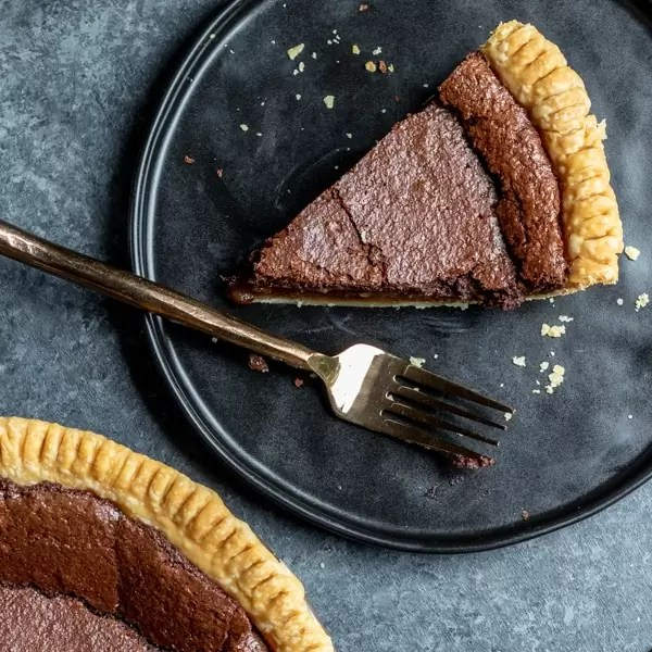 sice of Chocolate Chess Pie on plate