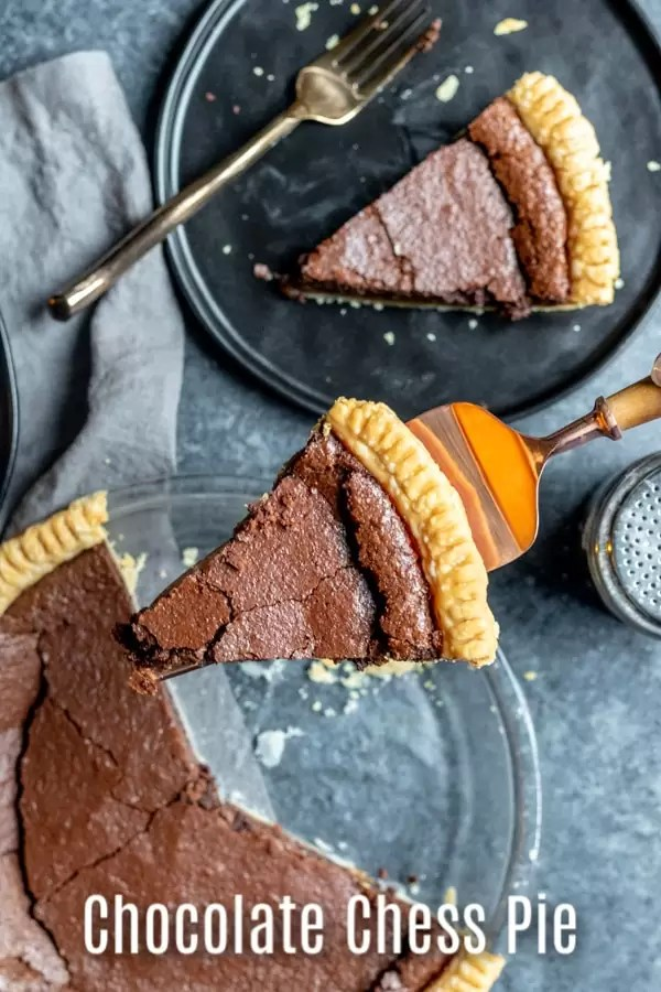 This Chocolate Chess Pie is a classic southern dessert that is easy to make and totally delicious. This old fashioned chess pie is made with cocoa and evaporated milk to create a sweet, decadent dessert that we serve every year for Thanksgiving dessert and Christmas dessert. It's a simple Thanksgiving pie recipe that the whole family will love. #thanksgiving #Christmas #dessert #chocolate #pie #homemadeinterest