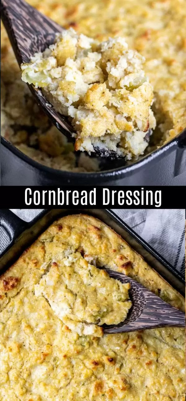 This homemade cornbread dressing is a traditional southern cornbread dressing recipe that is an easy Thanksgiving side dish. It is the BEST dressing or stuffing recipe made with cornbread, biscuits, celery, onions, and broth. Add this classic Southern Thanksgiving stuffing for your Thanksgiving dinner this year! #thanksgiving #thanksgivingsidedishes #stuffing #thanksgivingrecipes #sidedish #cornbread #homemadeinterest