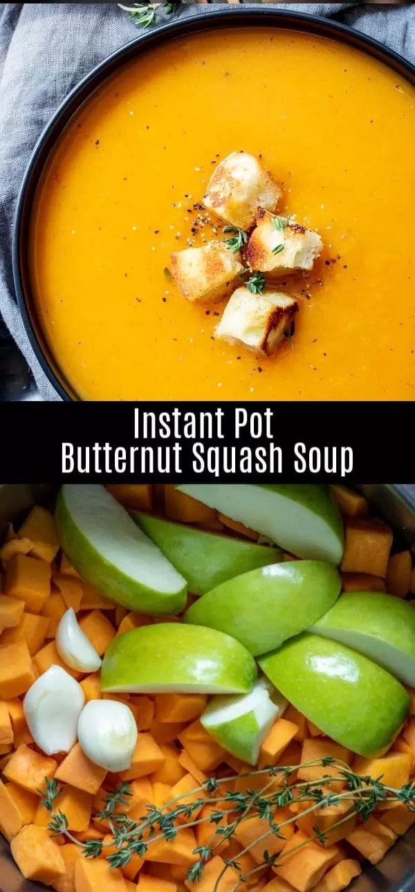 This quick and easy Instant Pot Butternut Squash Soup is a healthy soup recipe made by pressure cooking butternut squash and a few simple ingredients. It is a vegan, paleo, gluten-free, dairy-free, soup that is perfect for fall or winter. #butternutsquash #instantpot #pressurecookerrecipe #soup #fall #homemadeinterest