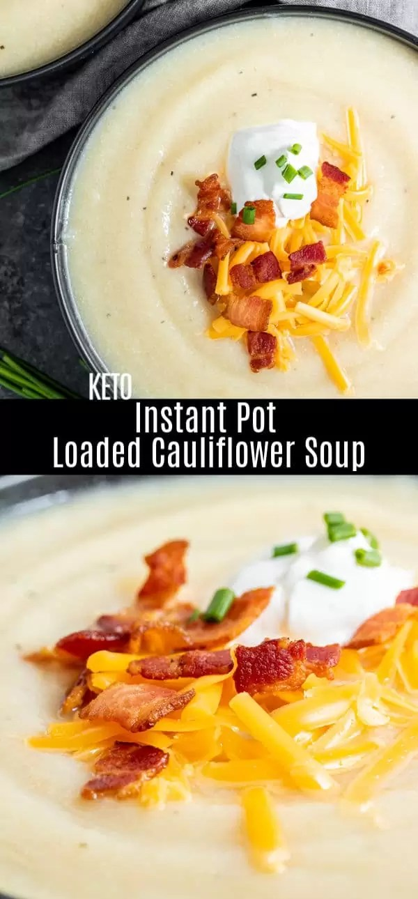 This easy Instant Pot Loaded Cauliflower Soup is a rich and creamy low carb, keto pressure cooker recipe made with a few simple ingredients. It's a great keto dinner recipe or low carb recipe for fall or winter. Cauliflower soup is the perfect instant pot recipe for fall! #instantpot #instantpotrecipes #pressurecooker #cauliflower #soup #keto #lowcarb #homemadeinterest