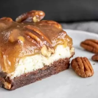 delicious holiday dessert Pecan Pie Cheesecake Brownies