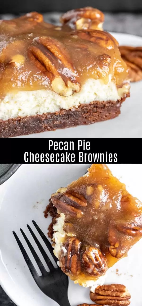 These amazing Pecan Pie Cheesecake Brownies are layers of pecan pie fillings, creamy cheesecake, and fudgy chocolate brownies made with a boxed brownie mix. This is a delicious Thanksgiving dessert or Christmas dessert recipe...or just an awesome dessert for a party. This is the best cheesecake brownies recipe ever! #brownies #cheesecake #pecanpie #thanksgiving #christmas #dessert #homemadeinterest