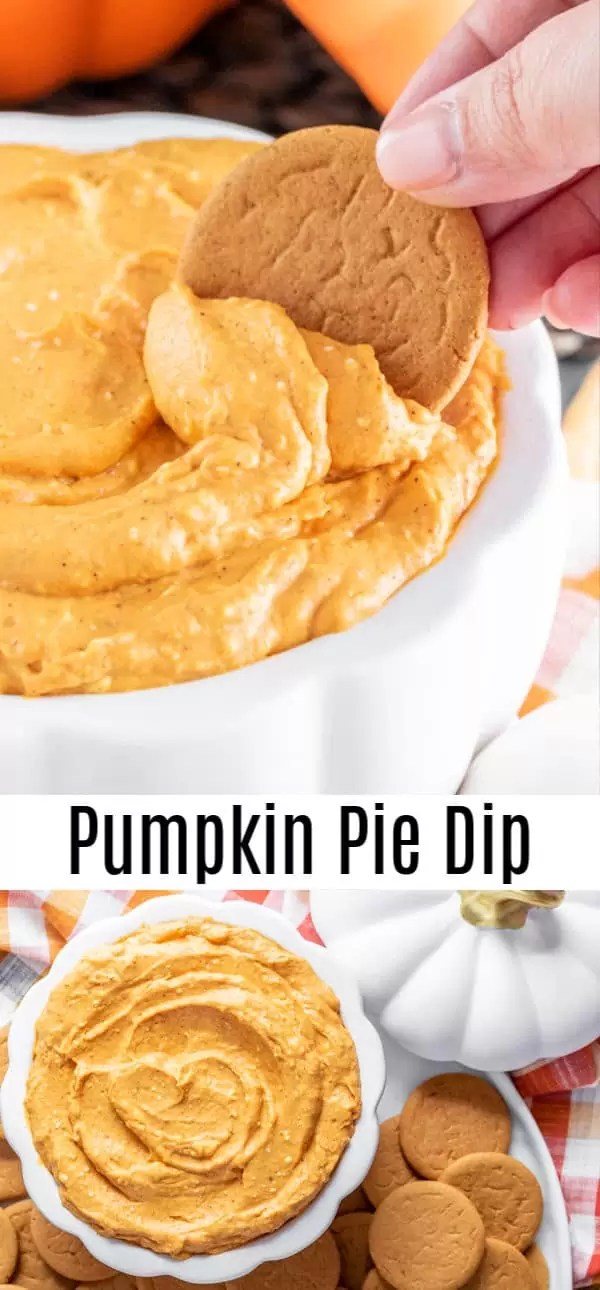 This easy Pumpkin Pie Dip is only 5 ingredients! It is an easy Halloween dessert or Thanksgiving dessert made with cream cheese, pumpkin puree, and pumpkin pie spice. Every bite is like a scoop of creamy, pumpkin pie. Serve it with graham crackers, pie crust, or ginger snaps for the perfect no bake pumpkin pie dip for parties. #thanksgiving #halloween #dessert #dip #pumpkinpie #homemadeinterest