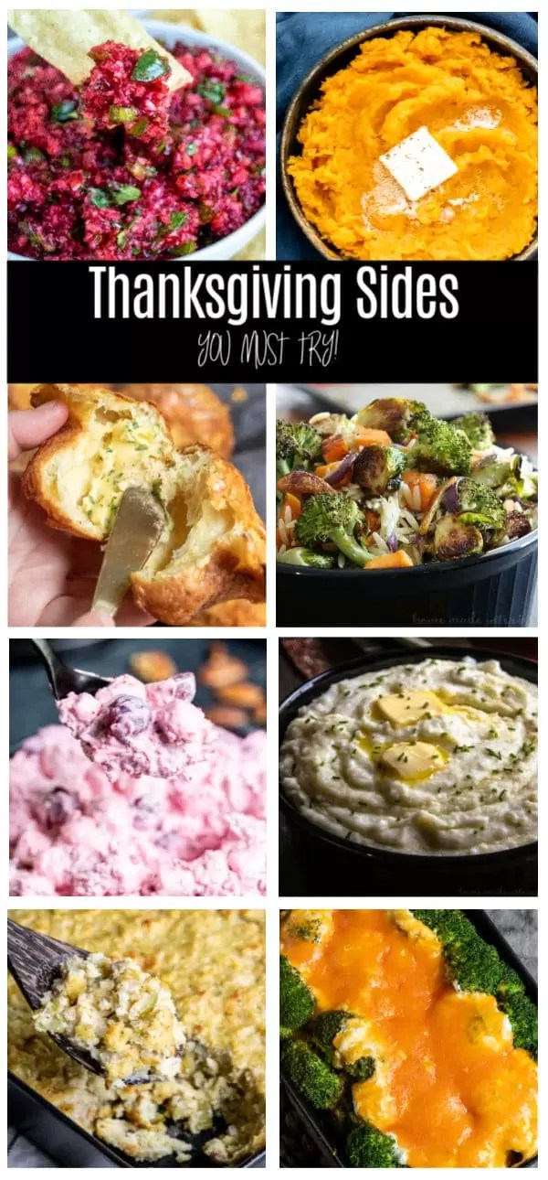 The BEST Thanksgiving Sides. Delicious side dishes including dressing, stuffing, casseroles, potatoes, cranberries, and homemade bread. These simple Thanksgiving side dish recipes are a must-have for your Thanksgiving dinner. #thanksgiving #sidedishes #sides #thanksgivingdinner #hoemmadeinterest