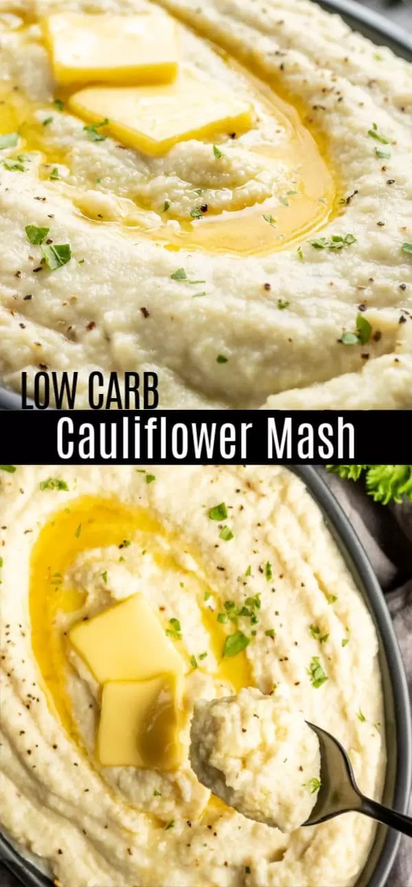 This Keto Cauliflower Mash makes an awesome low carb side dish for weeknight dinners and a great keto substitute for mashed potatoes for Thanksgiving dinner, or Christmas dinner. This easy mashed cauliflower recipe is whipped with cream cheese, butter, and a MultiQuick 5 Vario Hand Blender to make the BEST creamy, cheesy, cauliflower mash ever! #ad #braun
