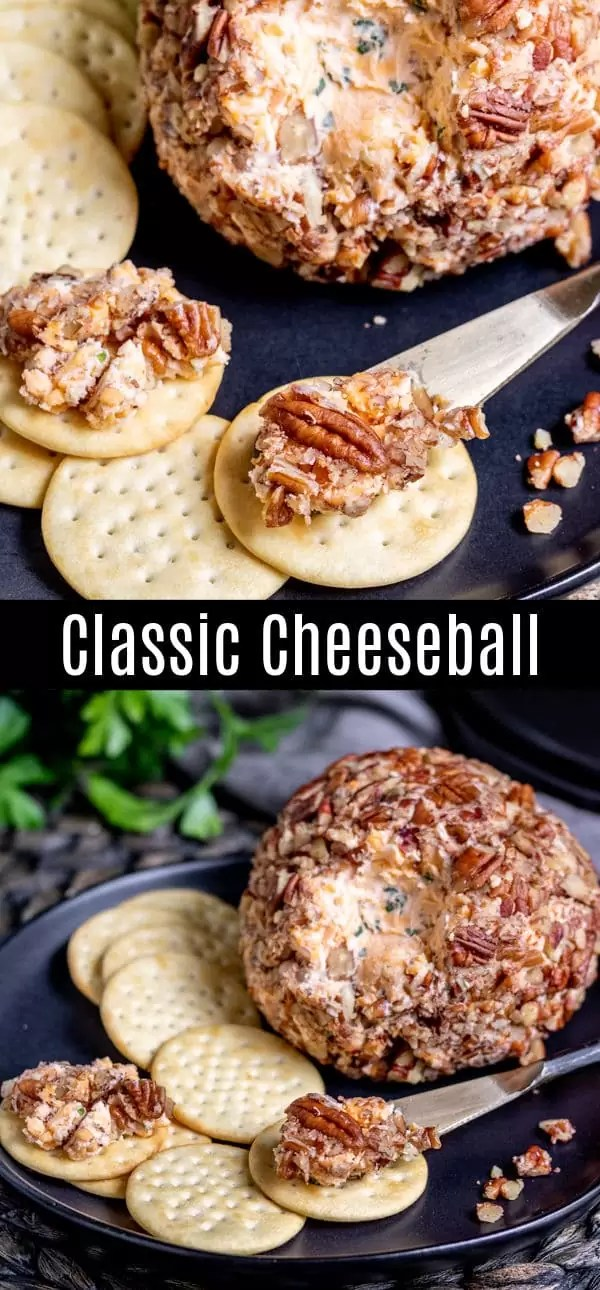 This Classic Cheese Ball recipe is the BEST! Just a few simple ingredients is all it takes to make this delicious cheese ball rolled in pecans. It's the perfect holiday appetizer that is low carb, keto, gluten-free, and super easy to make! Serve this as an easy Thanksgiving appetizer, Christmas appetizer, or New Year's Eve appetizer with a plate of veggies and crackers. #cheese #lowcarb #thanksgiving #christmas #newyearseve