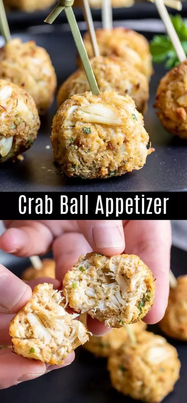 These quick and easy Crab Balls are an easy appetizer recipe that is perfect for holiday parties like Thanksgiving, Christmas, and New Year's Eve. These delicious homemade crab balls are made with lump crab meat and boxed stuffing mix for an easy seafood appetizer recipe that is ready in less than 20 minutes! #thanksgiving #christmas #newyearseve #appetizer #crab #seafood #homemadeinterest