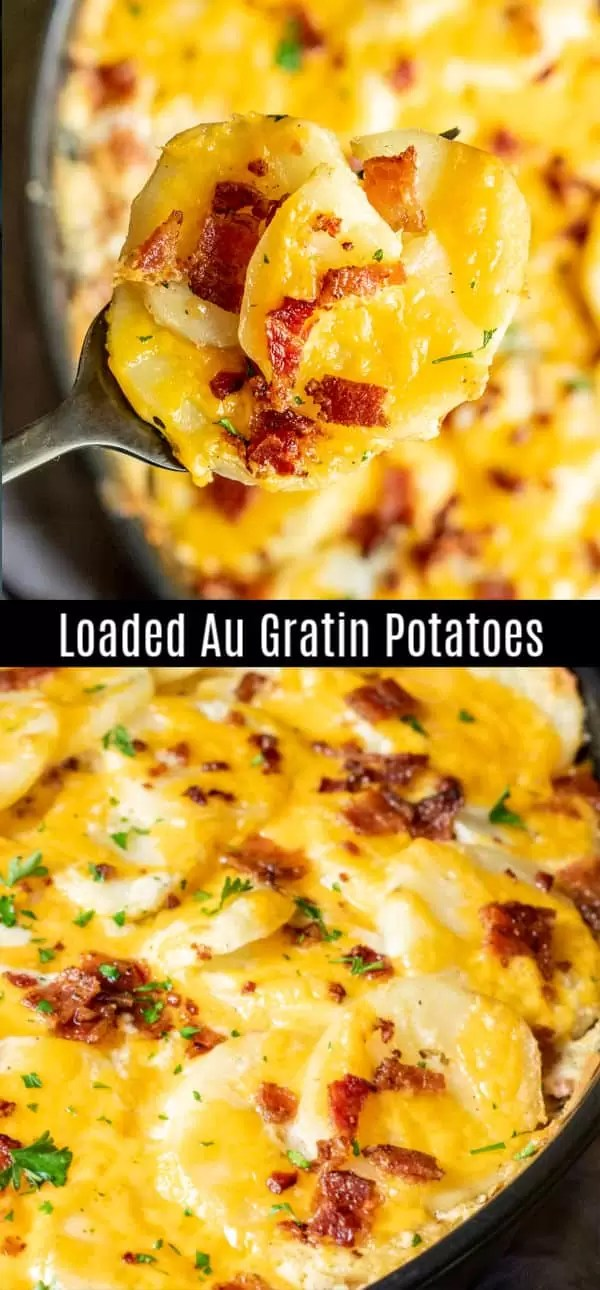 This Loaded Au Gratin Potatoes recipe is a cheesy, creamy au gratin potatoes recipe filled with sour cream, cheddar cheese, and bacon. Everything you love in a loaded baked potato turned into a delicious potatoes au gratin recipe. This is an amazing potato recipe for a Thanksgiving side dish or Christmas side dish. #potatoes #cheese #sidedish #thanksgivingsidedishes #Thanksgiving #christmasrecipes #christmas #homemadeinterest