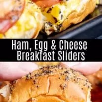 These delicious Ham Egg and Cheese Breakfast Sliders are an easy breakfast recipe or brunch recipe that is a great way to use up leftover ham from Easter or Christmas. Make these breakfast sliders with Hawaiian rolls, ham, egg, and cheese for an early morning tailgating recipe or for Sunday brunch. #breakfast #brunch #ham #cheese #egg #breakfastsandwich #sliders #homemadeinterest